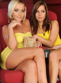 lezbohoneys Kathia Nobili and Cipriana Lez fun at the movies img